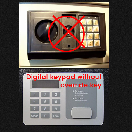 Digital keypad without override key